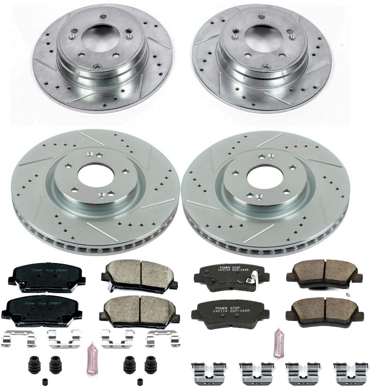 Power Stop K6325 Front /& Rear Z23 Evolution/Sport Brake Upgrade Kit