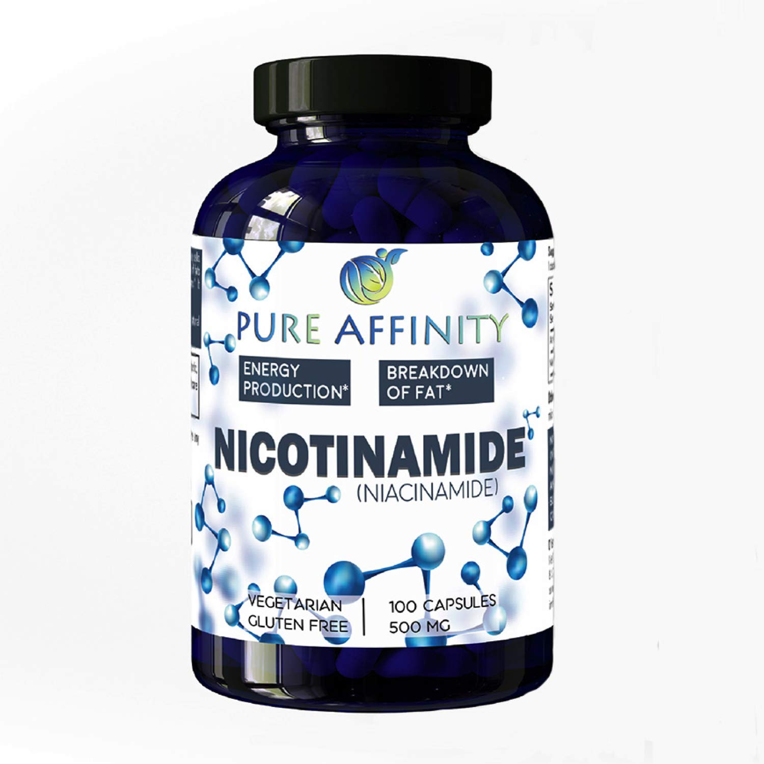 B3 Nicotinamide 500 mg Effective Flush-Free Niacin. Energy Booster, Cell Regenerator, That Supports Cognitive Decline, Anti-Aging and Helps Breaks Down Carbs & Fats (100 Count)) by Pure Affinity LLC