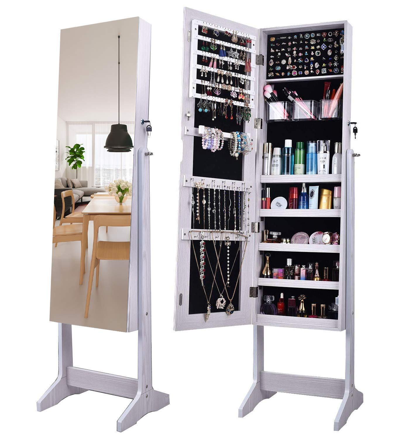 AOOU Jewelry Organizer Jewelry Armoire,Full Length Mirror Lockable Jewelry Cabinet, with Large Storage Capacity, 3 Angles Adjustable, White