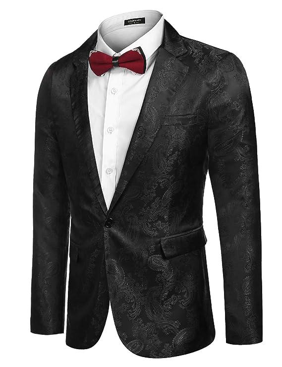 Amazon.com: COOFANDY - Blazer para hombre con estampado de ...