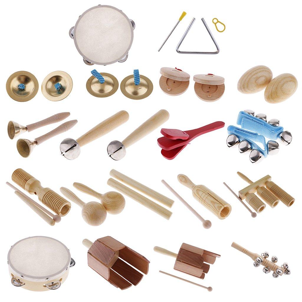 MagiDeal Juego de 28 Piezas Conjuntos de Instrumentos de Percusión Musicales para Niños