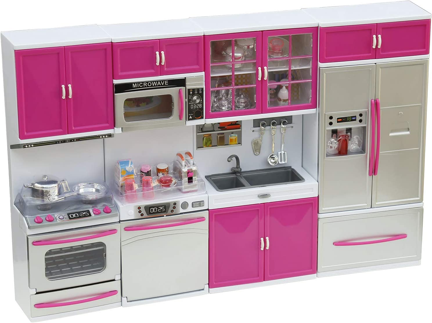 AZToys Modern Kitchen Playset for Kids - 4-in-1 Playset with 39pcs Foods & Accessories, Battery Operated Appliances with Realistic Lights & Sounds, Pretend Play Toy, Great for 12