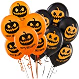 Balloons For Halloween Decoration - 100% Latex - Orange & Black Colors - Scary Frightening Pumpkin Design - 40 Balloons - Celebrate With Family & Friends