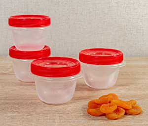 Rubbermaid TakeAlongs Twist & Seal Food Storage Containers, 1.2 Cup, Tint Chili, 4 Count