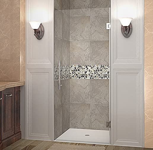 Aston Cascadia 30 x 72 Completely Frameless Hinged Shower Door, Brushed Stainless Steel