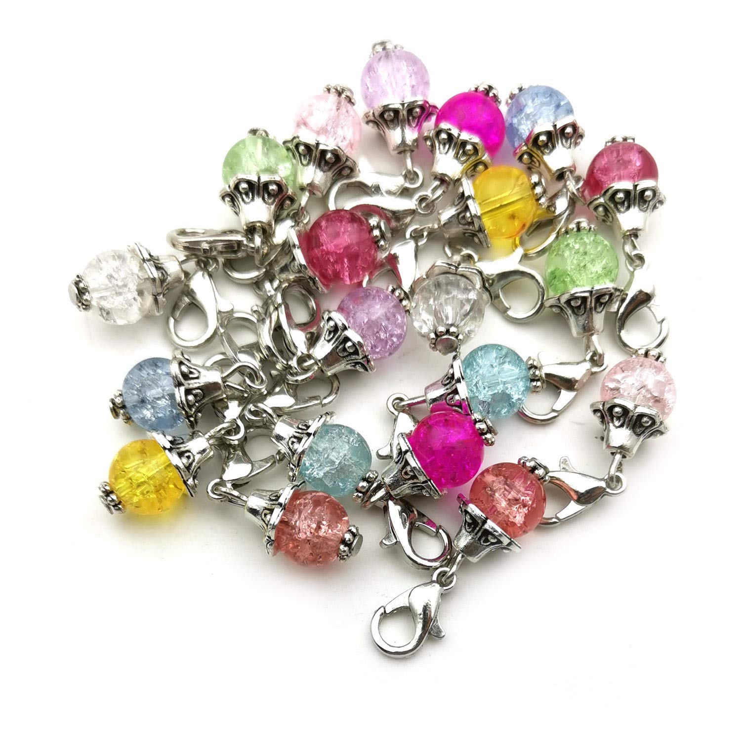 WOCRAFT 20pcs Craft Supplies Handmade Christmas Beads Dangle Charms Pendant with Lobster Clasp for Jewelry Making Accessory Fit Floating Locket Charms Necklaces M42