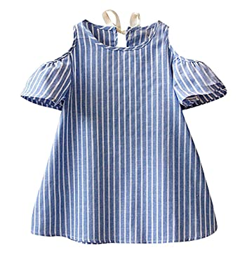 0abdc635bc6 Sweety Girls  Baby Blue White Vertical Stripes Cold Shoulder Short Shift  Dress
