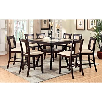 Furniture Of America Mullican Counter Height Display Top Dining Table    Dark Cherry U0026 Ivory