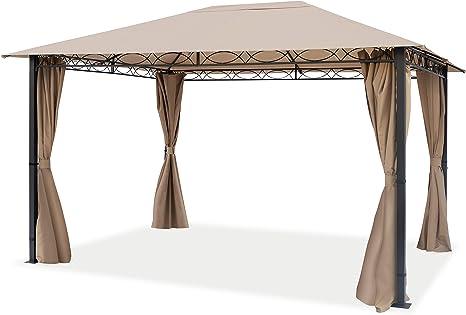TOOLPORT Cenador de jardín ca. 3x4 m cenador Impermeable pabellón con 4 Partes Laterales ca. 220g/m² Lona de Techo en Carpa de Fiesta marrón