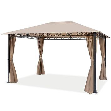 new concept ab771 a6d49 TOOLPORT Pavillon de Jardin Pavillon Premium imperméable de 3x4 m avec  Tente de Jardin à 4 côtés bâche de Toit 280 g/m² en Tente de réception Taupe