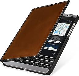 StilGut Book Type Case, custodia in pelle a libro per BlackBerry Passport Silver Edition, marrone nappa/nero