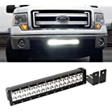 iJDMTOY Complete High Power LED Light Bar w/ Lower Bumper Insert Area Mounting Brackets and Wiring Switch For 2009-2014 Ford F-150, 2010-2014 Ford SVT Raptor (No Cutting, No Drilling)