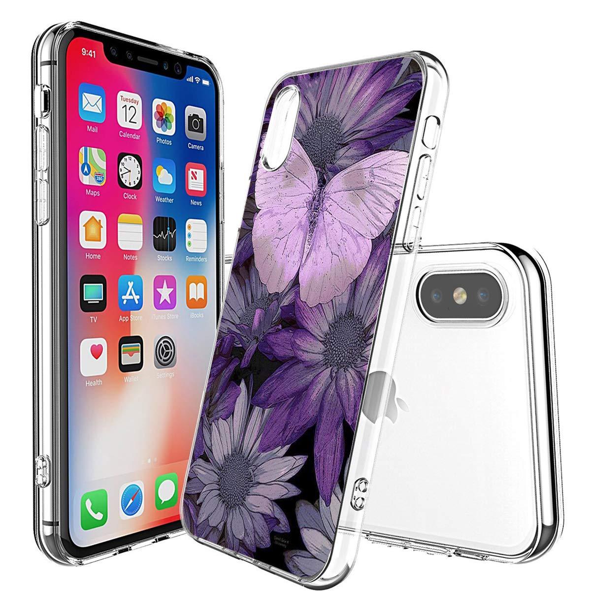 Caler Cover Compatibile con iPhone XS//iPhone X Custodia Trasparente con Disegni TPU Morbida Bumper Case con Motivo Carino in TPU Silicone Antiurto 3D Vogue Ultra Chic