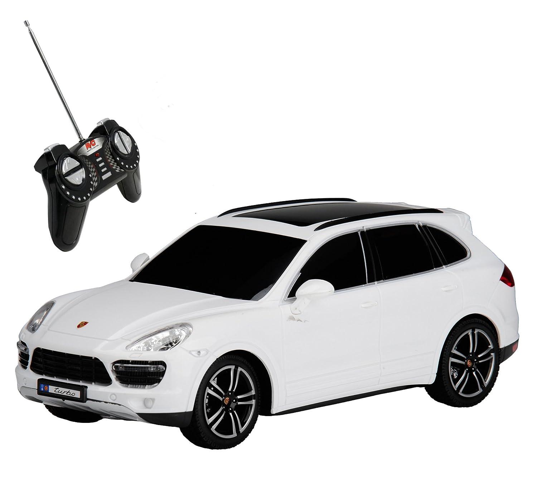 RC Modelo Porsche Cayenne Turbo teledirigido con luz 1: 18, color blanco: Amazon.es: Juguetes y juegos