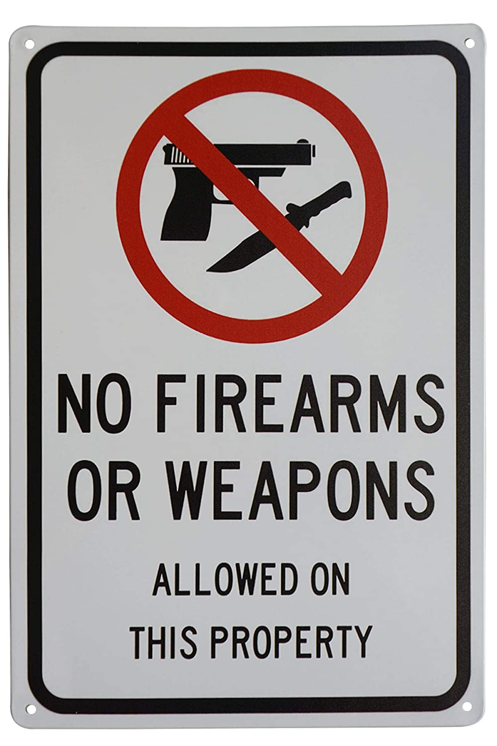 LASMINE Funny Gun Sign No Firearms Guns Or Weapons Allowed on This Property Sign Security Warning Signs for Home Wall Decor 8X12 Inch