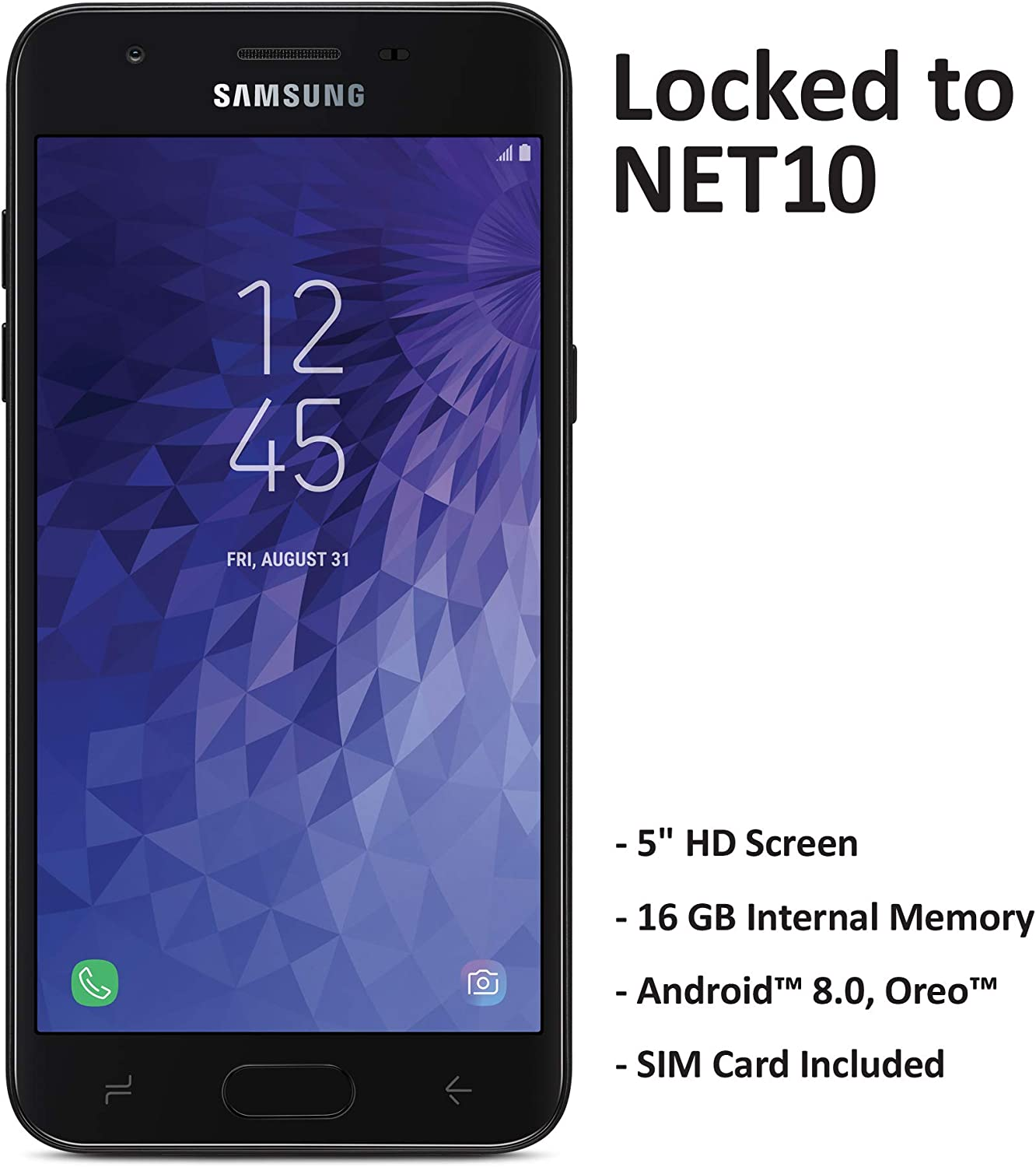 Net10 Carrier-Locked Samsung Galaxy J3 Orbit 4G LTE Prepaid Smartphone - Black - 16GB - Sim Card Included - CDMA