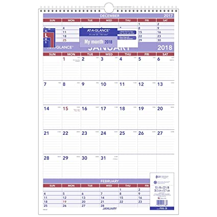 AT A GLANCE 3 Month Wall Calendar January 2018