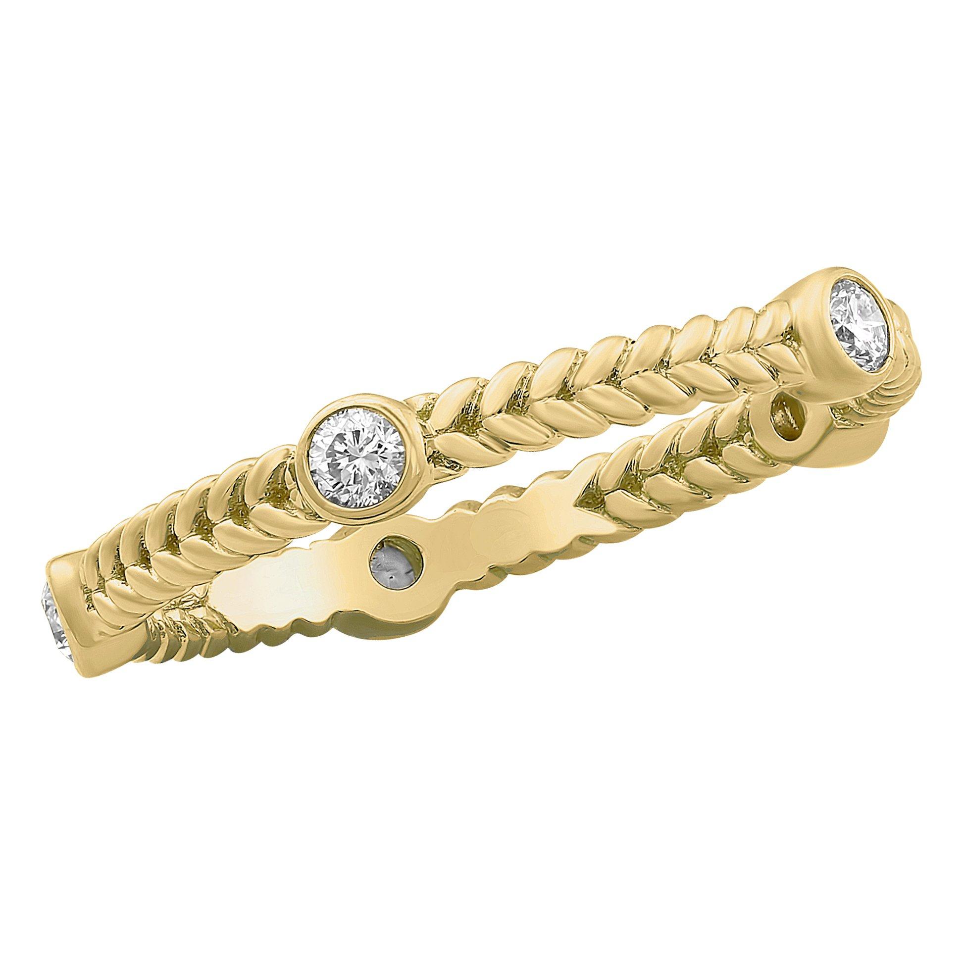 Olivia Paris 14k Yellow Gold Bezel Set Eternity Stackable Diamond Ring (1/4 cttw, H-I Color, I1 Clarity) Size 7