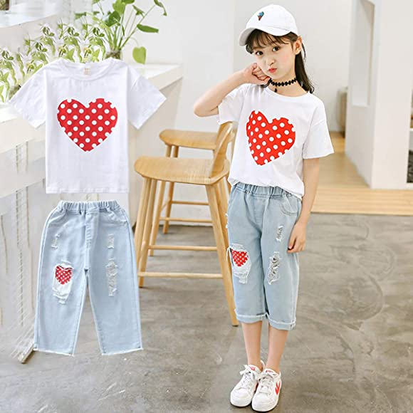 Cute Outfits for Girls Size 10,12 White Tee Shirt+Fashion Kids Jeans Casual  Set