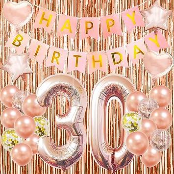 Amazon.com: Globos de 30 cumpleaños para decoración de 30 ...