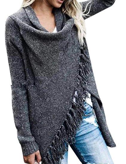 d1c4d40d78e SOMTHRON Women s Long Sleeve Knit Fringe Pullover Sweatshirt Asymmetric  Open Front Cardigan Sweater Plus Size(