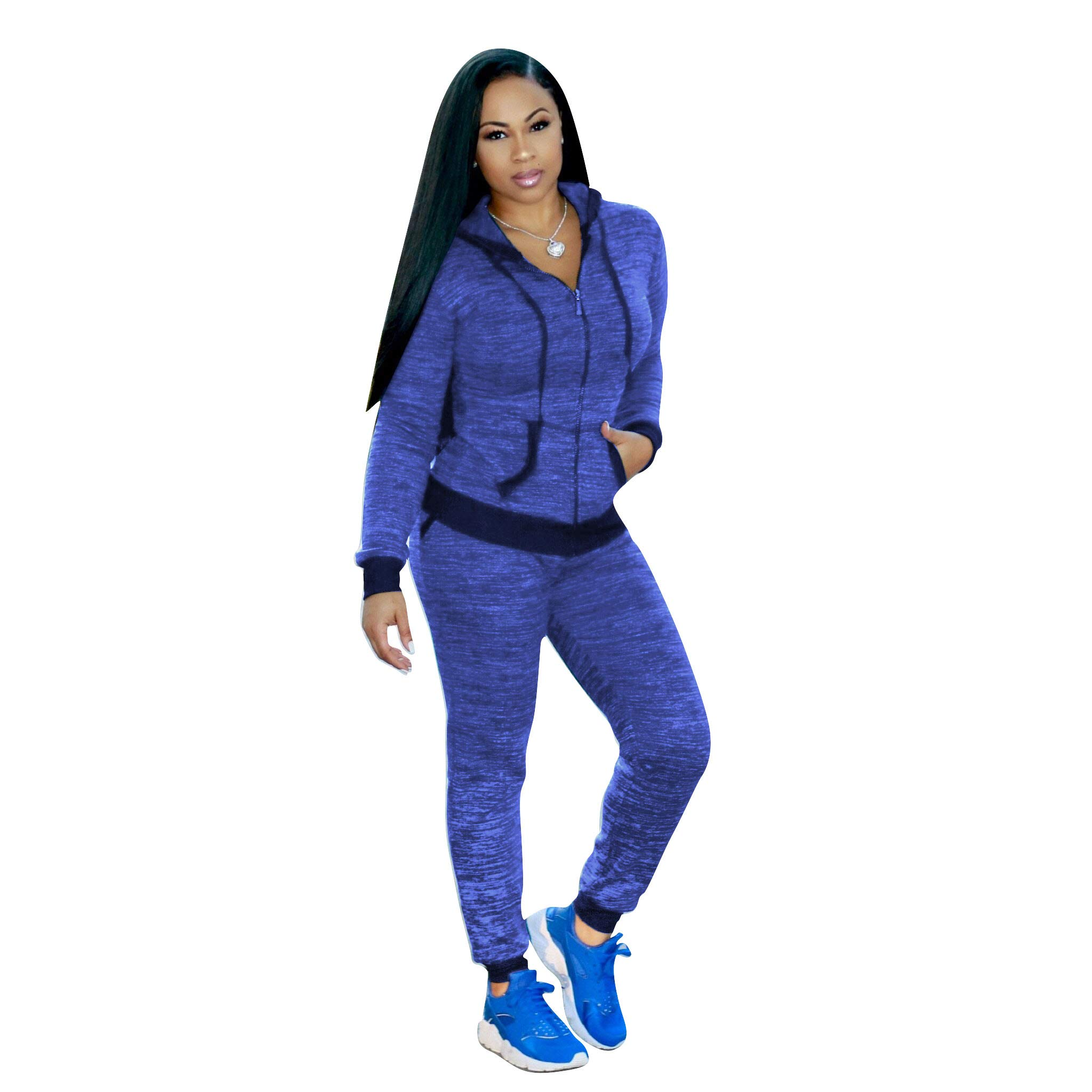 2Pieces Womens Sports Outfits Set Sweatsuit,Long Sleeve Open Front Zipper Hoodie Skinny Jogger Pants Tracksuit with Pockets Blue