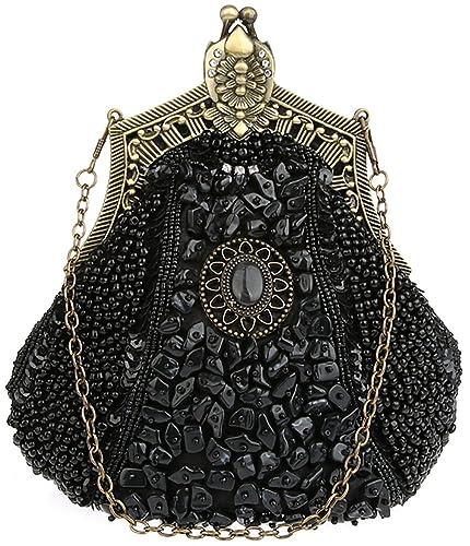 4523c36a781f19 Christal Town Women's Antique Beaded Party Clutch Vintage Purse Evening  Handbag Black