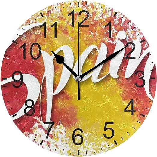 SENNSEE - Reloj de Pared con diseño de Bandera de España, para Sala de Estar, Dormitorio, Cocina, Funciona con Pilas, para decoración del hogar: Amazon.es: Hogar