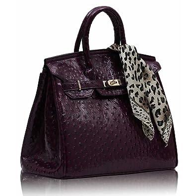 027337bab3 Getthatbag Phoebe Brevet - autruche Cadenas Tote Sac à main avec Free  Leopard Design Écharpe - Violet - violet,: Amazon.fr: Chaussures et Sacs