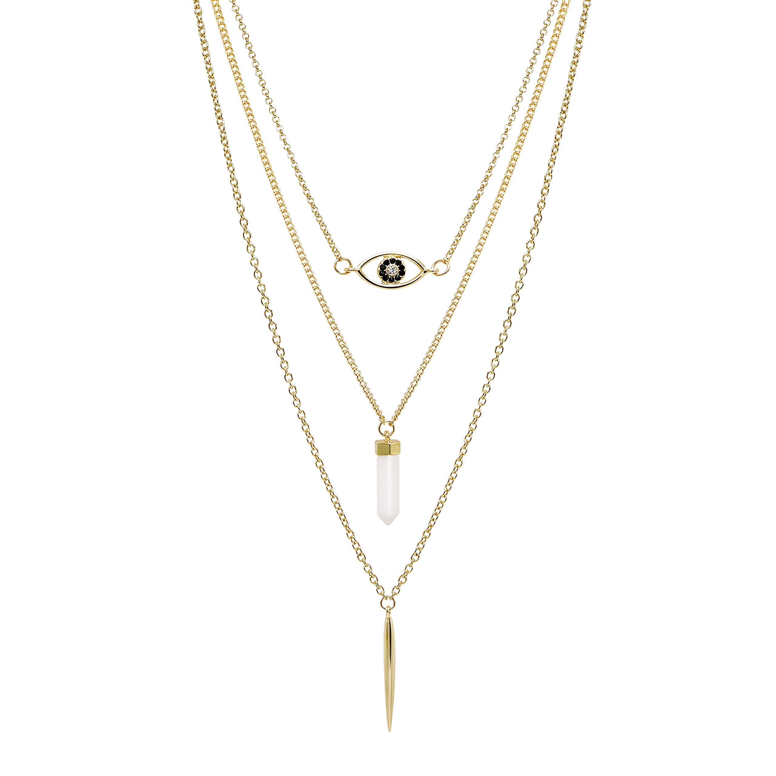 T-Doreen Gold Tone Layered Evil Eye White Quartz Stone Metal Spike Pendant Necklace for Women