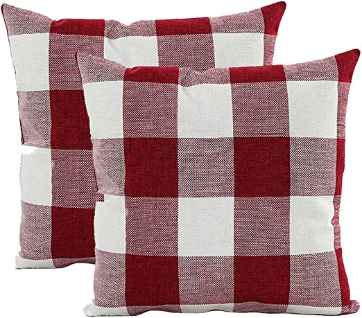 Red and Black Buffalo Plaid Christmas 16 x 16 Flannel Pillow Cover