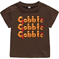 Gobble Til You Wobble T-Shirt Toddler Baby Outfit Boy Girl Thanksgiving Shirt Kids Turkey Tee Tops Clothes Gift