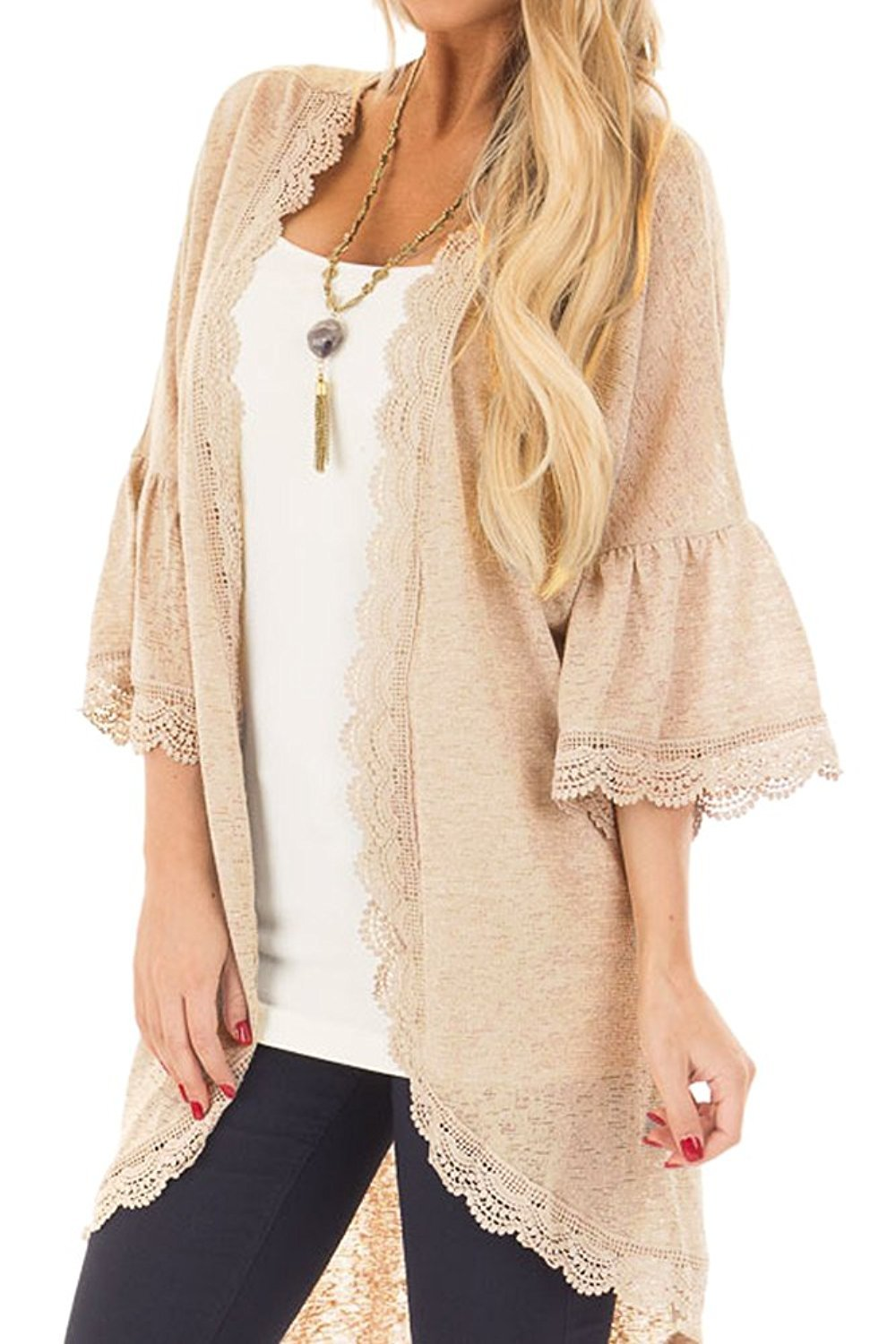 Forsix Women's Lace Detail 3/4 Loose Ruffle Bell Sleeve High Low Kimono Cardigan Cover up (Light Orange, L)
