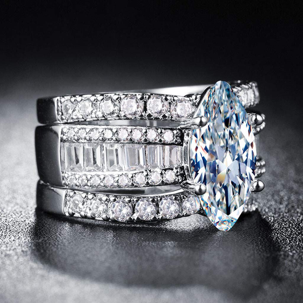 chenJBO 2019 3 Piece Stackable Cubic Zirconia CZ Wedding Bands Rings Engagement Bridal Milgrain Marquise Infinity Ring Sets Sterling Silver Platium Plated or Gold Plated Size 6-10 6, Gold