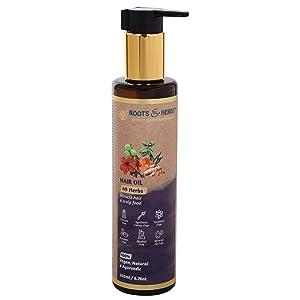 Roots & Herbs Ayurvedic Natural Treatment 100% Vegan No Paraben 49 Herbs Miracle Hair Food Moisturizing Hair Oil - 200 ml
