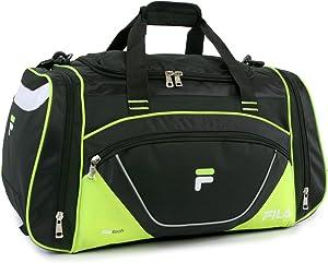 "Fila Acer 25"" Sport Duffel Bag, Black/Neon Green, One Size"
