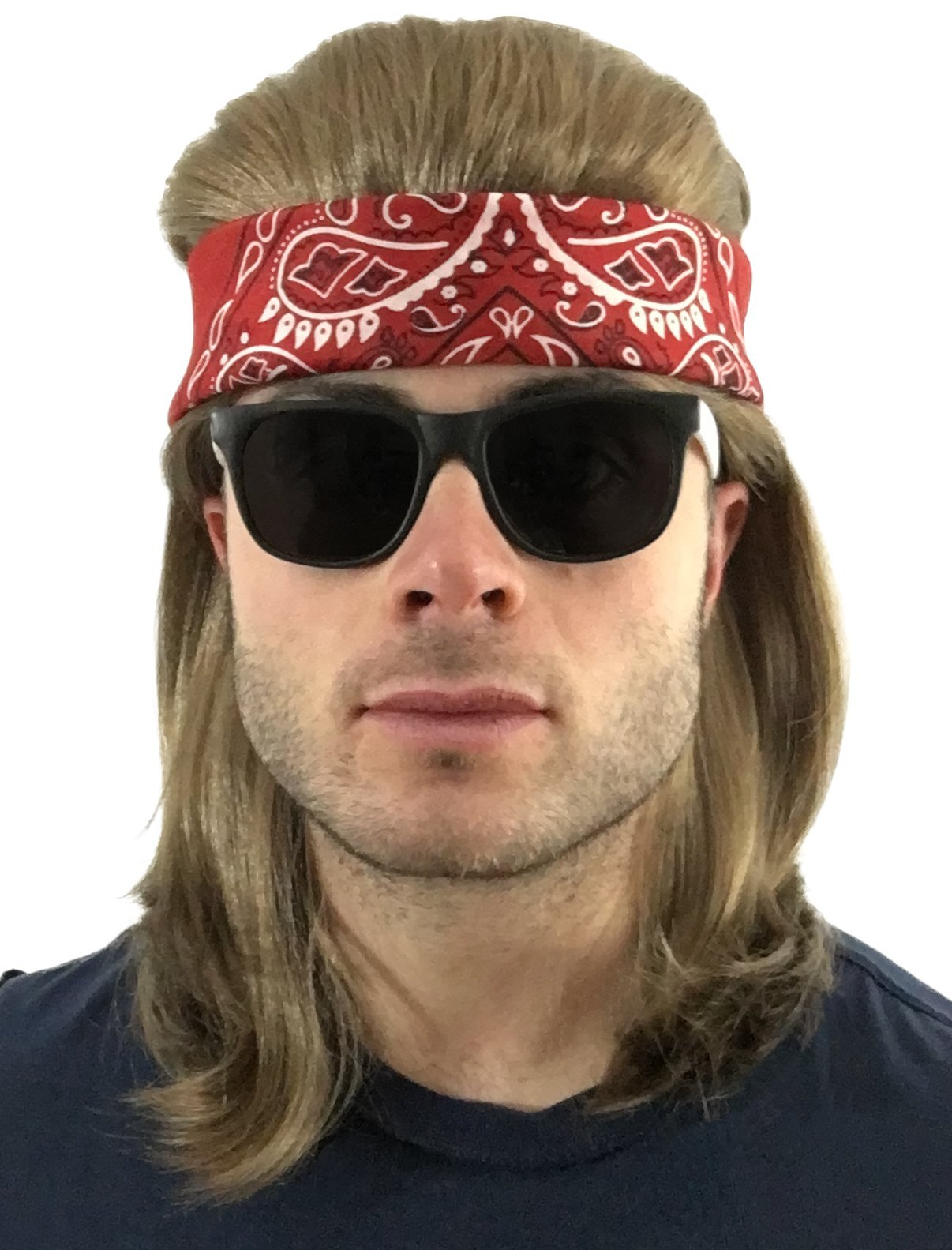 4 pc. Brown Mullet Wig + Red Bandana + 2-Tone Sunglasses: Hillbilly Red Neck Long Funny Party Halloween Costume 80s Wig, Women's Men's 80's Mullet Wigs for Men Women Boys Girls Kids Adults (Red/2T)