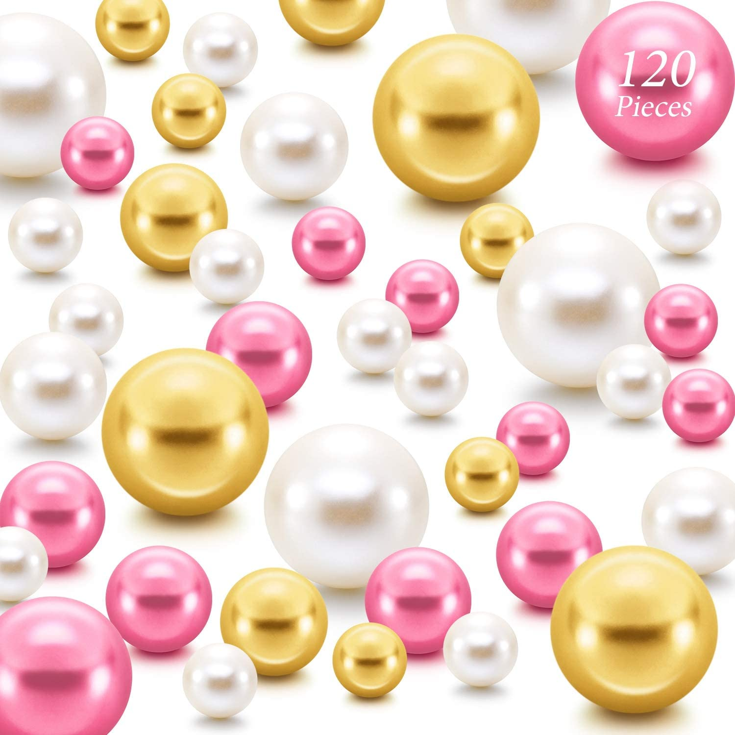 Hicarer 120 Pieces Pearl for Vase Filler Pearls Bead for Vase Makeup Beads for Brushes Holder Assorted Round Faux Pearl Beads for Home Wedding Decor, 14/20/ 30 mm(Bright Gold, Rose Red, Beige)