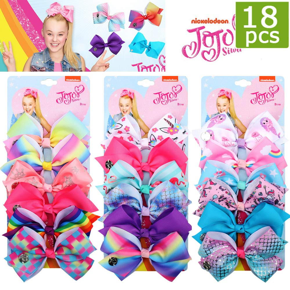 18pcs JOJO Siwa Hair Bows - 5 Inches Alligator Clips for Girls Large Bow Unicorn Rainbow Grosgrain Ribbon Hair Barrettes Accessories for Toddler Teens Kids by Suncharm