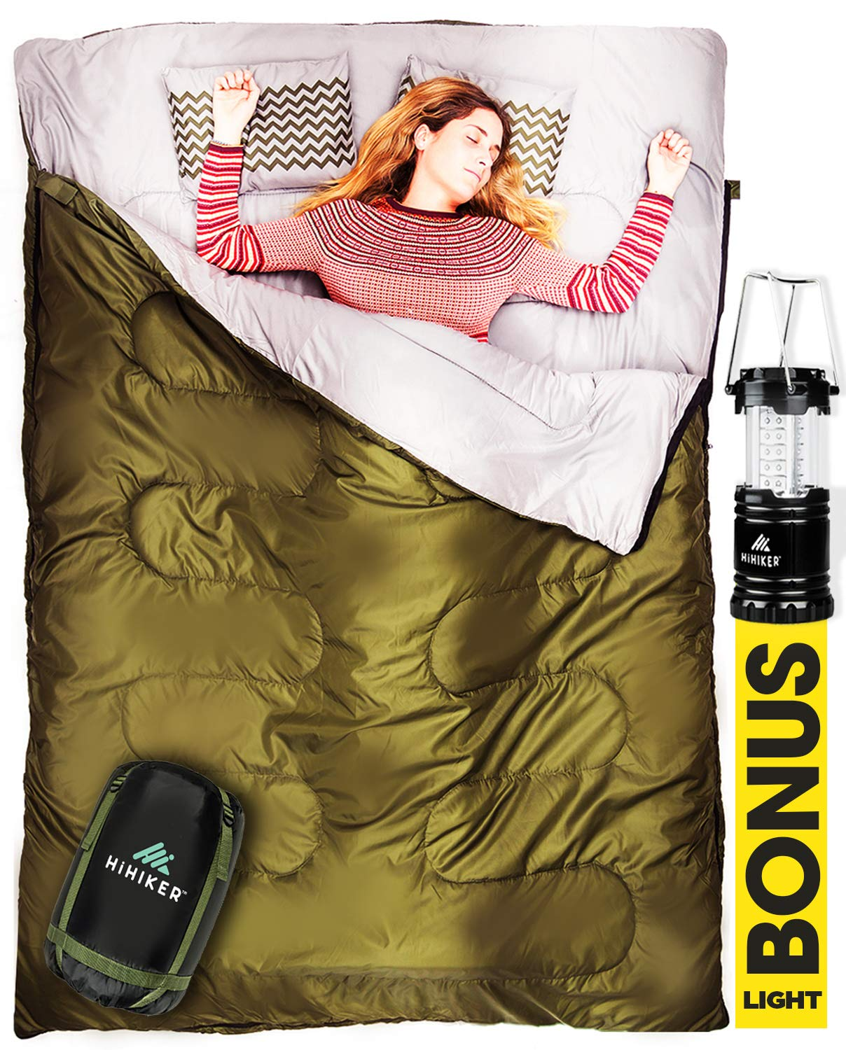 HiHiker Double Sleeping Bag Queen Size XL - Bonus Camping Light - for Camping, Hiking Backpacking and Cold Weather, Portable, Waterproof and Lightweight - 2 Person Sleeping Bag 3