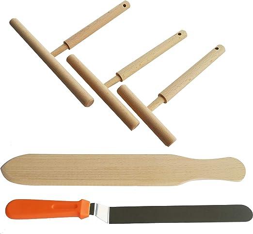 Wooden Spatula Crepe Spreader Pancake Cooking Kitchen Tool Spatula Spreading Set