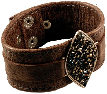 Women's 'BD-129' Handmade Silver Plated Leather Cuff With Stone