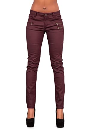 LustyChic Womens Burgundy Leather Look Wax Style Slim Fit Trousers with  Zips Ladies UK Sizes 6-16 (6 db317e501
