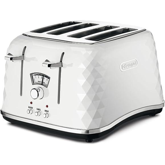 De'Longhi Brillante Faceted White 4-Slice Toaster