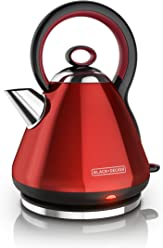Black & Decker KE2900RC 1.7L Stainless Steel Electric Cordless Kettle, Red