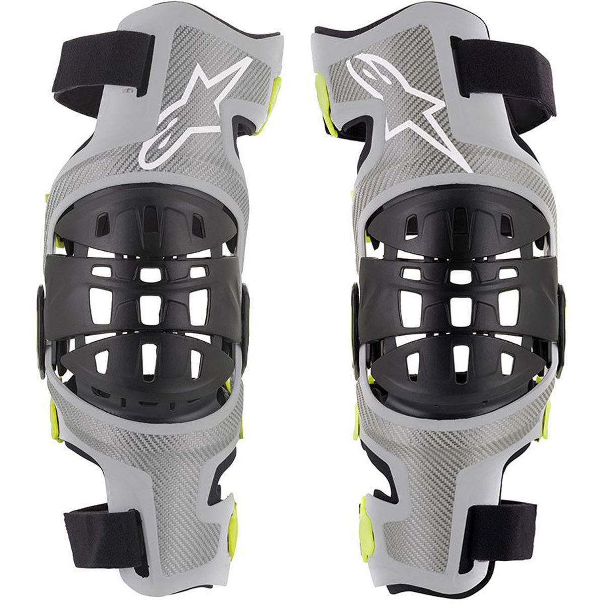 Bionic-7 Off-Road Motocross Knee Brace Set (Medium, Silver Yellow Fluo)