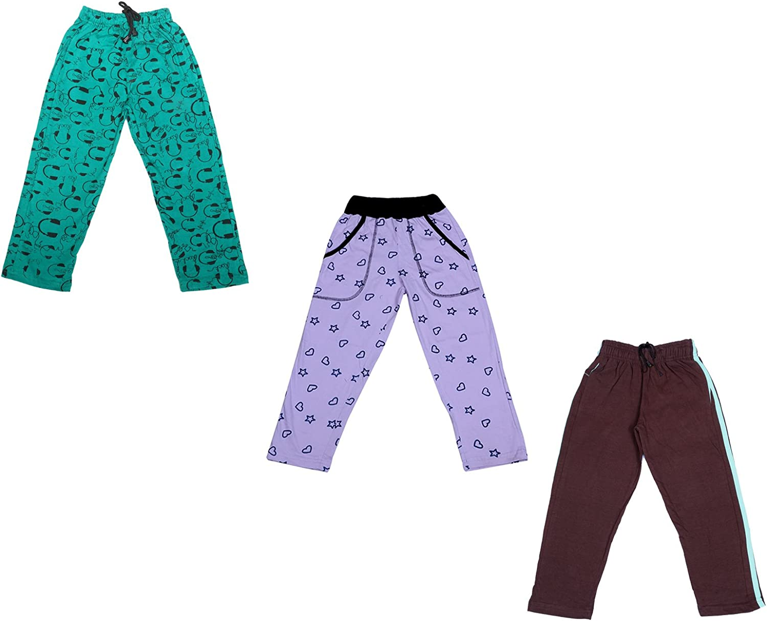Pack Of 3 Indistar Boys Premium Cotton Full Length Lower//Track Pants//Pyjamas With 2 Open Pockets