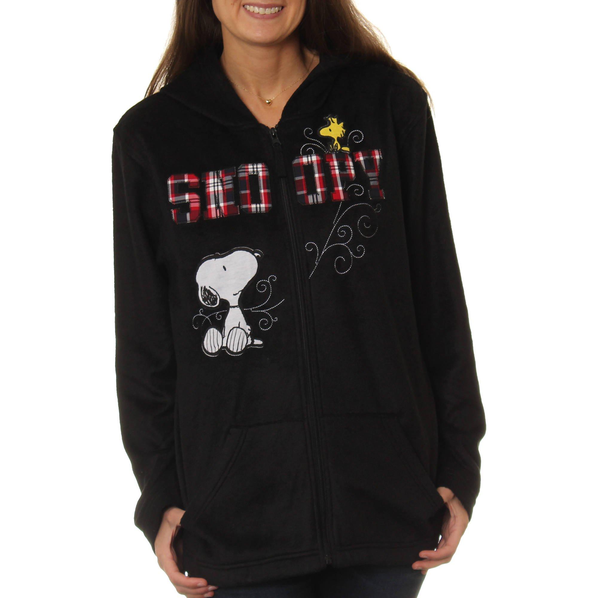 Peanuts Women's Snoopy & Woodstock Plush Fleece Full Zip Hoodie, Black, Small / 4 - 6