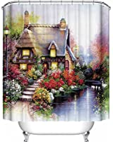 Cottage Floral Scene Fabric Shower Curtain 70x70 Kinkade Style House Flowers