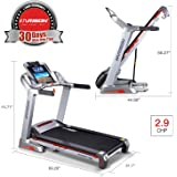 Electric Folding Treadmill Running Machine with Auto 15 Incline, Home Gym Fitness Machine with 7 Inch LCD Screen, Easy Handrail Controls & Preset Button Speeds, Soft Drop System, Super Quiet